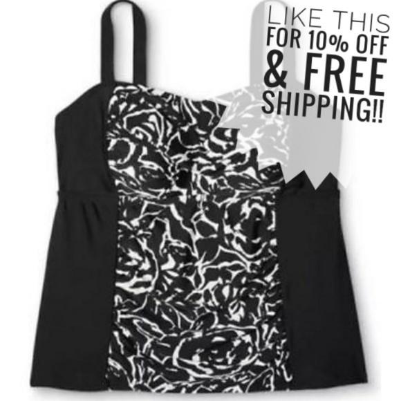 163ab26d38c Ava & Viv Swim | New Tankini 20w Plus Size Black White Bathing Suit ...